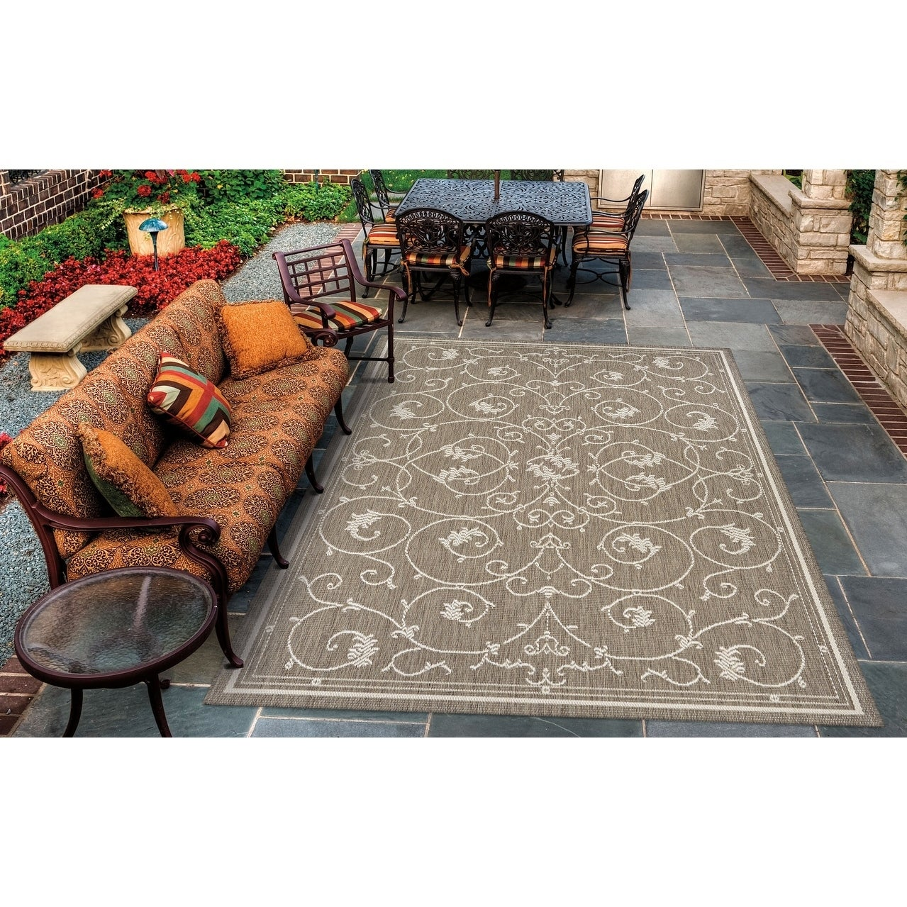 Couristan Recife Veranda/Champagne-Taupe Indoor/Outdoor A...