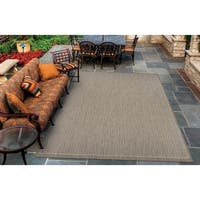 Couristan Recife Saddle Stitch/Champagne-Taupe Indoor/Outdoor Rug - 5'10 x 9'2
