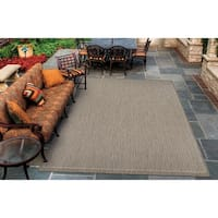 Couristan Recife Saddle Stitch Champagne/ Taupe Indoor/Outdoor Area - 3'9 x 5'5