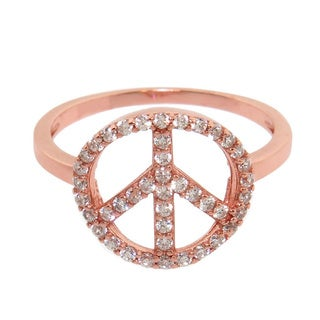 Eternally Haute 14k Rose Goldplated Solid Sterling Silver Pave Peace Ring