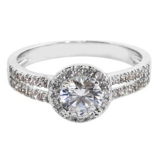 Eternally Haute White Brass Cubic Zirconia Pave Double Row Halo Engagement Ring - Silver