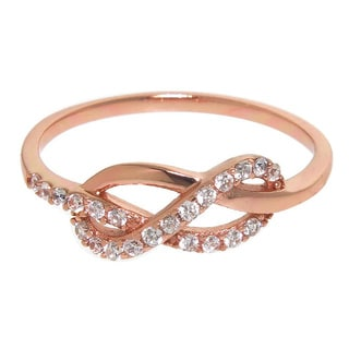 Eternally Haute Sterling Silver, Cubic Zirconia Love Knot Ring - Pink