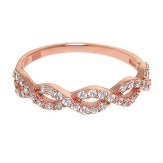 Eternally Haute 14k Rose Gold-plated Solid Sterling Silver Cubic Zirconia Braided Love Knot Ring - Pink