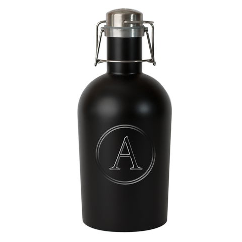 Stainless Monogrammed Beer Growlers 12 Letter Choices