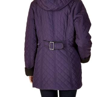 Women's Geneva Black/Purple Polyester/Nylon Coat