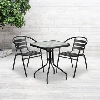 23.5-inch Square Glass Metal Table with 2 Metal Aluminum Slat Stack Chairs
