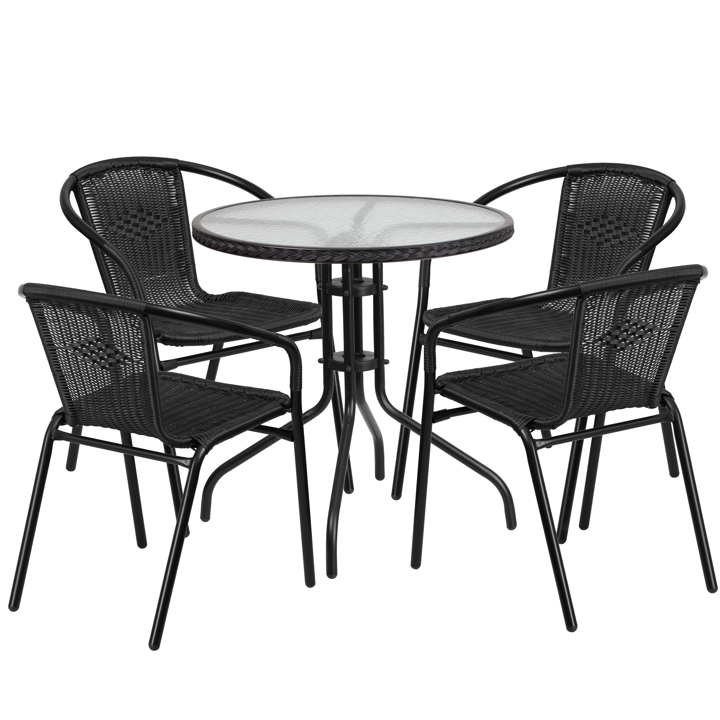 Flash Furniture 28-inch Round Glass Metal Table with Ratt...
