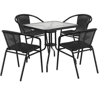 28-inch Square Glass Metal Table with Rattan Edging and 4 Rattan Stack Chairs|https://ak1.ostkcdn.com/images/products/12117039/P18977244.jpg?impolicy=medium
