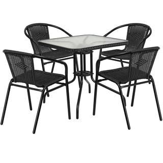 28 inch Square Glass Metal Table with Rattan Edging and 4 Rattan Stack  ChairsMetal Patio Furniture   Shop The Best Outdoor Seating   Dining  . Metal Outdoor Patio Furniture. Home Design Ideas