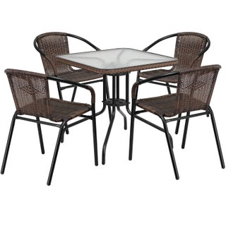 Porch & Den Stonehurst Russet 5-piece Square Metal/ Glass Table with Rattan Chairs Set