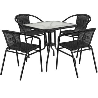 Porch & Den Stonehurst Russet 5-piece Square Metal/Glass Table with Rattan Chairs Dining Set