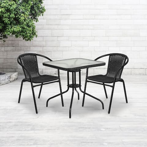 """28"""" SQ Glass Metal Table with Black Rattan Edging & 2 Black Rattan Stack Chairs - 28""""W x 28""""D x 28""""H"""