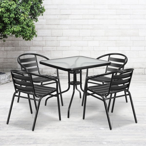 "31.5"" Square Glass Metal Table with 4 Black Metal Aluminum Slat Stack Chairs"