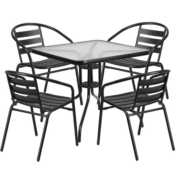Shop 31 5 Inch Square Glass Metal Table With 4 Metal Aluminum Slat