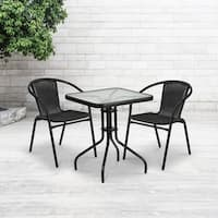 23.5-inch Square Glass Metal Table with 2 Rattan Stack Chairs