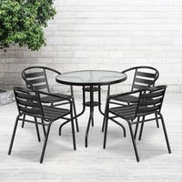 31.5-inch Round Glass Metal Table with 4 Aluminum Slat Stack Chairs