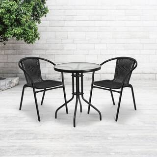 23.75-inch Round Glass Metal Table with 2 Rattan Stack Chairs https://ak1.ostkcdn.com/images/products/12117057/P18977286.jpg?impolicy=medium