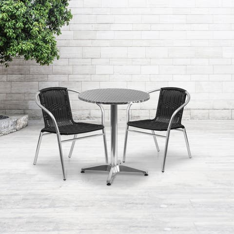 23.5-inch Round Aluminum Indoor-Outdoor Table with 2 Rattan Chairs