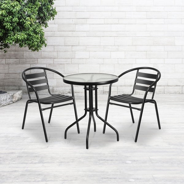 """23.75"""" Round Glass Metal Table with 2 Black Metal Aluminum Slat Stack Chairs - 23.75""""W x 23.75""""D x 28""""H"""