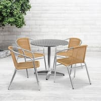 31.5-inch Round Aluminum Indoor-Outdoor Table with 4 Rattan Chairs - 31.5""