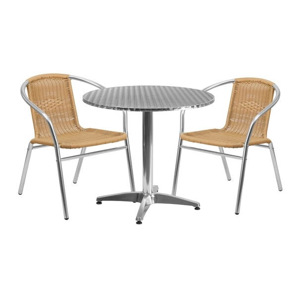 31.5'' Round Aluminum Indoor-Outdoor Table Set with 2 Rattan Chairs - 31.5""