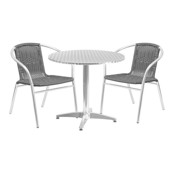 """31.5-inch Round Aluminum Indoor-Outdoor Table with 2 Rattan Chairs - 31.5"""""""