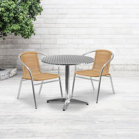 """31.5'' Round Aluminum Indoor-Outdoor Table Set with 2 Rattan Chairs - 31.5"""""""