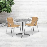 31.5-inch Round Aluminum Indoor-Outdoor Table with 2 Rattan Chairs - 31.5""