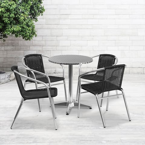 23.5-inch Round Aluminum Indoor-Outdoor Table with 4 Rattan Chairs