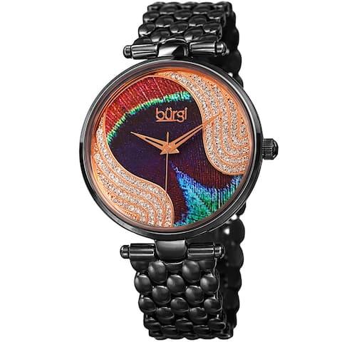 Burgi Women's Quartz Swarovski Crystal Stainless Steel Black Bracelet Watch