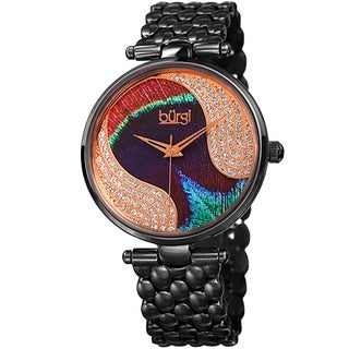 Burgi Women's Quartz Swarovski Crystal Stainless Steel Black Bracelet Watch