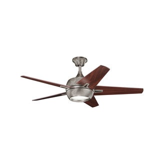 Kichler Lighting Makoda Collection 52-inch Burnished Antique Pewter Ceiling Fan w/Light