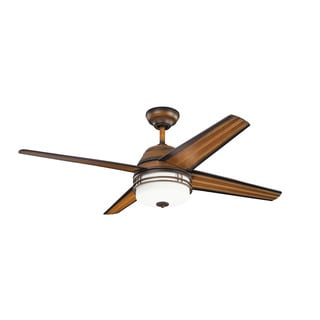 Kichler Lighting Porters Lake Collection 54-inch Mediterranean Walnut Ceiling Fan w/Light