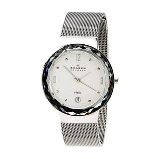 Skagen SKW2004 Leonora Diamond Silvertone Dial Stainless Steel Mesh Bracelet Women's Watch