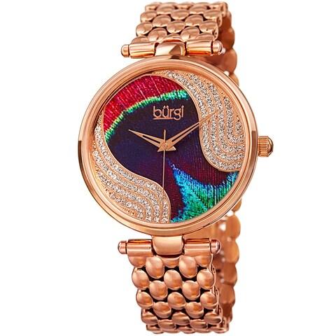 Burgi Women's Quartz Swarovski Crystal Stainless Steel Rose-Tone Bracelet Watch