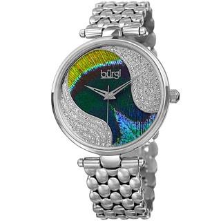 Burgi Women's Quartz Swarovski Crystal Stainless Steel Silver-Tone Bracelet Watch with FREE GIFT