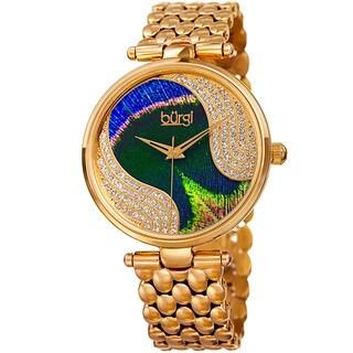 Burgi Women's Quartz Swarovski Elements Crystal Stainless Steel Gold-Tone Bracelet Watch