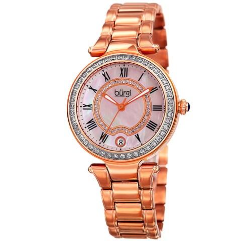 Burgi Women's Quartz Swarovski Elements Crystal Stainless Steel Rose-Tone Bracelet Watch