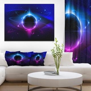 Fractal Black Star - Abstract  Art Canvas Print - Blue