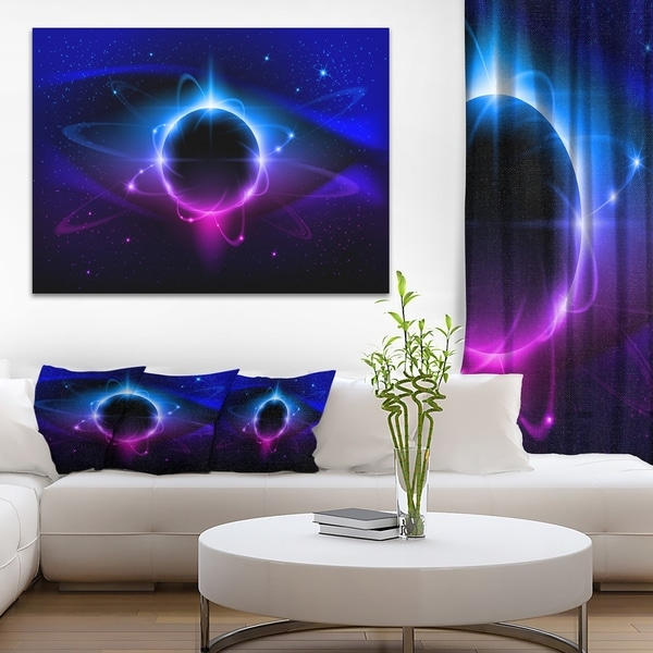 Fractal Black Star - Abstract Art Canvas Print - Blue