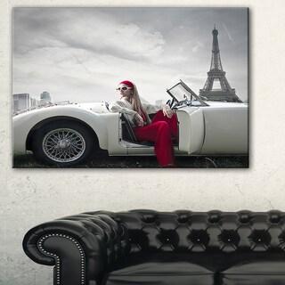 Fashion Woman in Car - Art Car Canvas Art Print