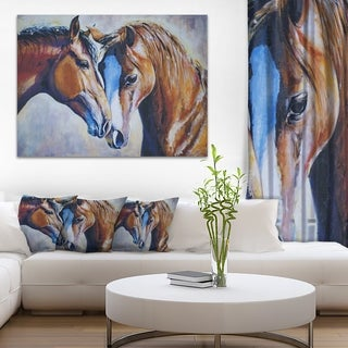 Brown Amorous Horses - Animal Painting Canvas Print