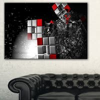 Fractal 3D Red White Cubes - Abstract  Art Canvas Print