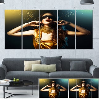 Woman in Yellow with Mask - Art Portrait Canvas Print