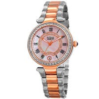 Burgi Women's Quartz Swarovski Crystal Stainless Steel Two-Tone Bracelet Watch