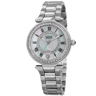Burgi Women's Quartz Swarovski Element Crystal Stainless Steel Silver-Tone Bracelet Watch with GIFT BOX