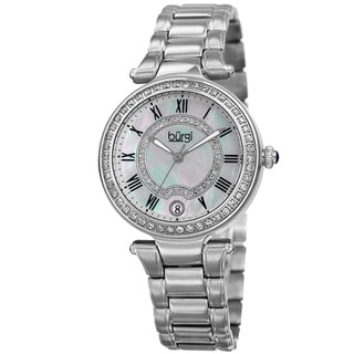 Burgi Women's Quartz Swarovski Crystal Stainless Steel Silver-Tone Bracelet Watch