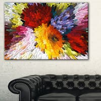 Extrusive 3D Fabric Flowers - Floral  Art Canvas Print - Red