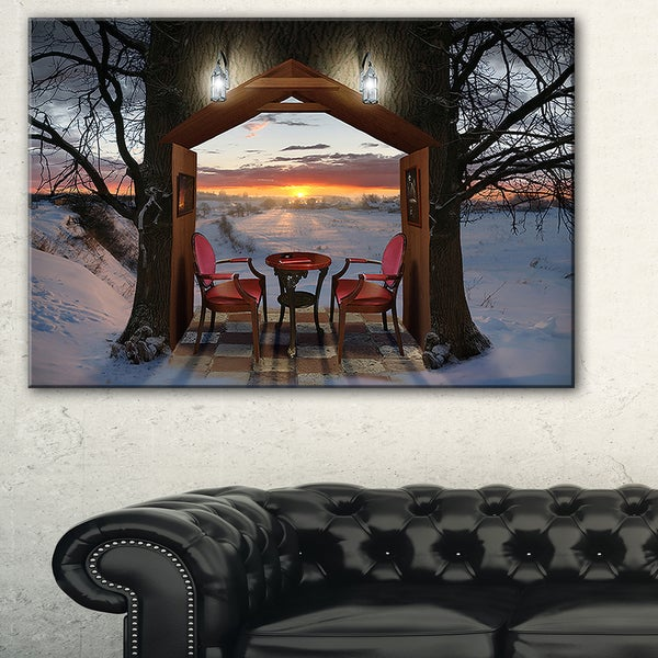Home Shaped Trees Collage - Landscape Art Canvas Print
