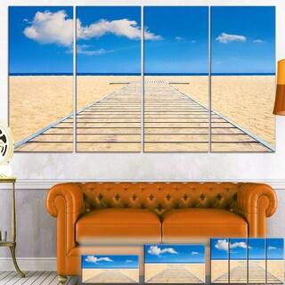 Beach and Sea with Wooden Floor - Seashore  Art Canvas Print